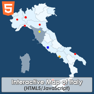 Interactive Map of Italy HTML5 JavaScript