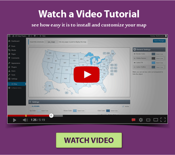 tutorial on how install and customize the US map plugin