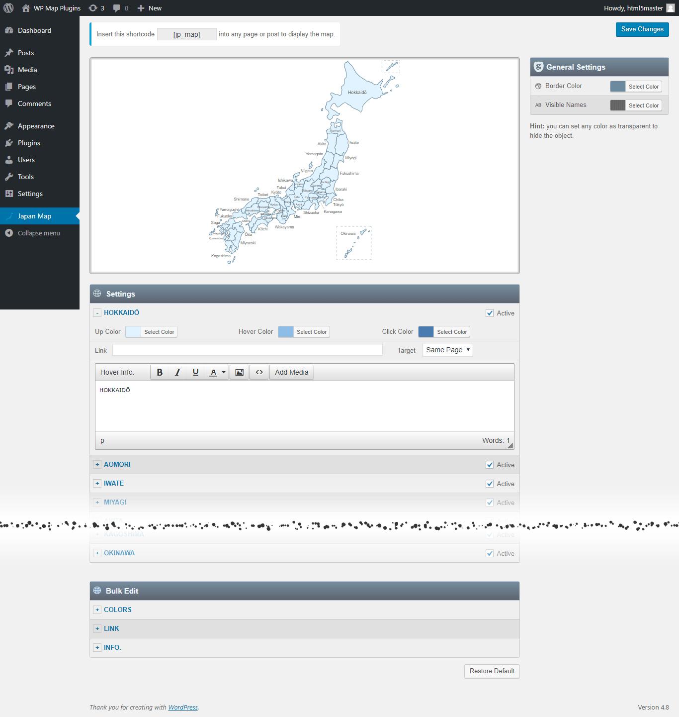 Interactive Map Of Japan WordPress Plugin - Japan map questions
