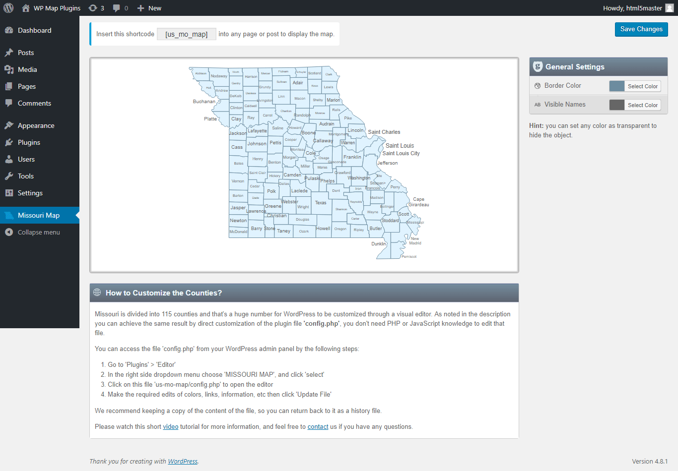 Interactive Map of Missouri [WordPress Plugin]