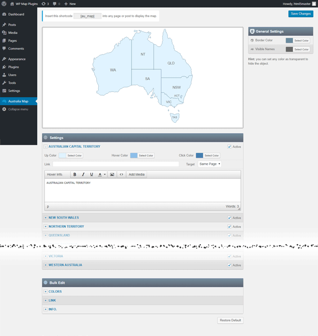 Interactive Map of Australia WordPress Plugin