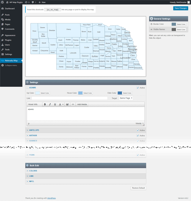 Interactive Map of Nebraska WordPress Plugin